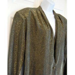 Vtg 90s Gold & Black Metallic Blazer Jacket NWT L